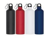 Trinkflasche aus Metall mit Karabinerhaken, 800 ml